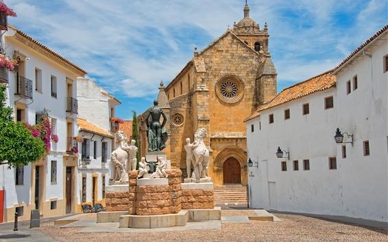 Обои Кордова, Испания, церковь, дома, статуи, небо