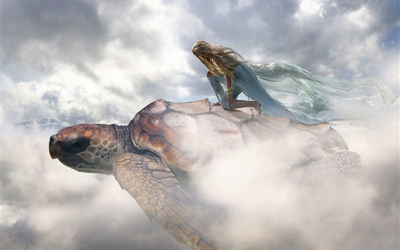 Wallpaper Creative picture, girl, turtle, flight, clouds