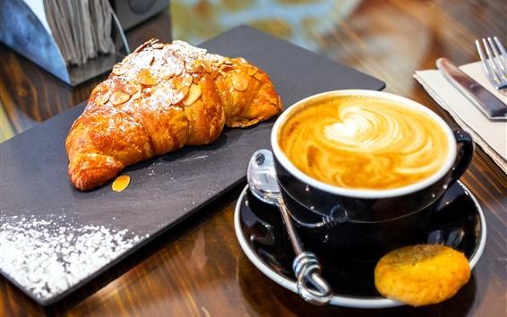 壁紙 クロワッサン、ベーキング、カプチーノコーヒー