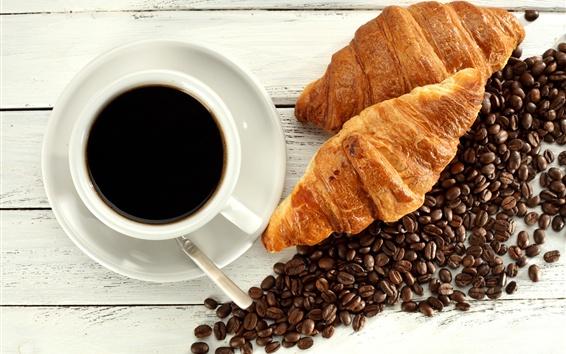 Papéis de Parede Croissants, grãos de café, copo