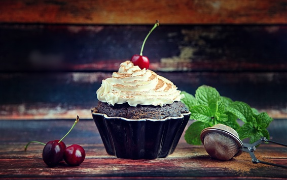 Wallpaper Cupcake, cream, cherry, food