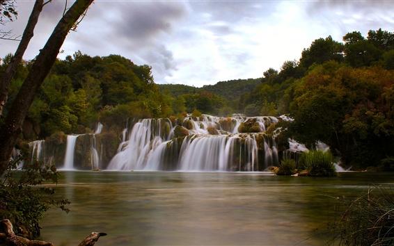 Wallpaper Dalmatia, Croatia, Krka National Park, waterfall