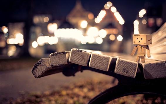Wallpaper Danbo, bench, night