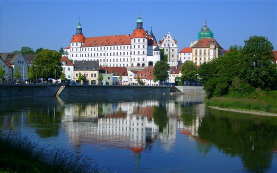 Wallpaper Danube, Germany, castle, promenade, river