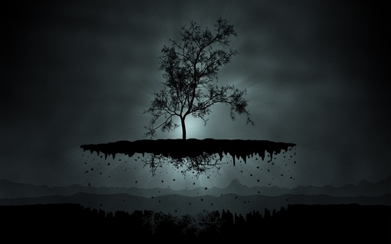 배경 화면 어두운 밤, 나무, 비행기, 산, 창조적 인 사진