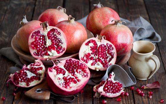 Wallpaper Delicious fruit, pomegranate, fresh