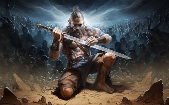 Wallpaper Diablo 3: Reaper of Souls, barbarian, sword