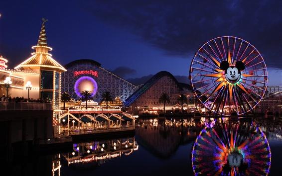 Fondos de pantalla Disney California Adventure, Paradise Pier, montaña rusa, rueda de la fortuna, noche