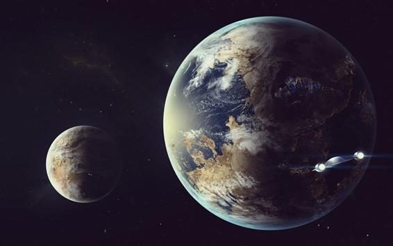 Fondos de pantalla Tierra, luna, nave espacial, espacio