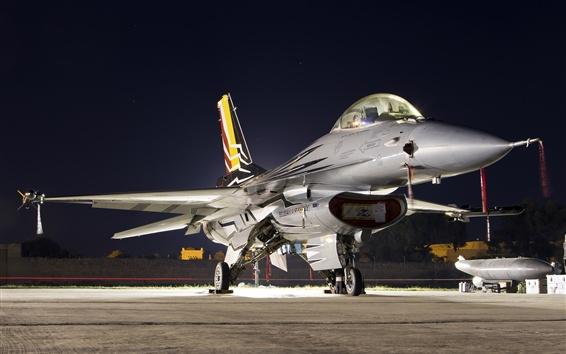 Papéis de Parede F-16AM Falcon lutador, multiuso, noite, luzes
