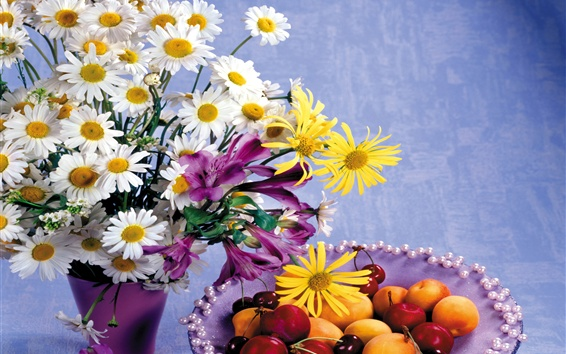 Wallpaper Flowers and fruits, daisy, lily, cherry, apricot