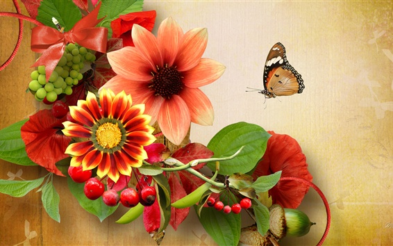 Wallpaper Flowers, cherry, grape, butterfly, collage