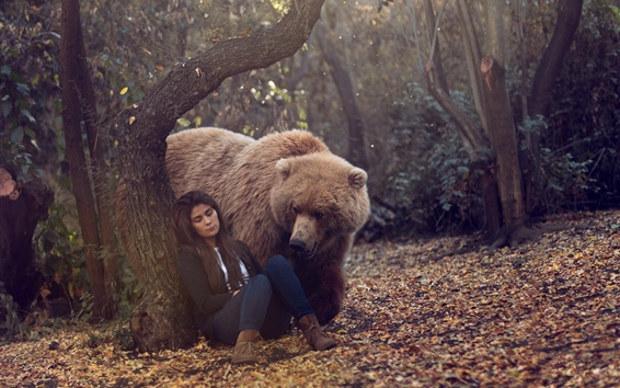 Wallpaper Forest, brown bear look at sleeping girl