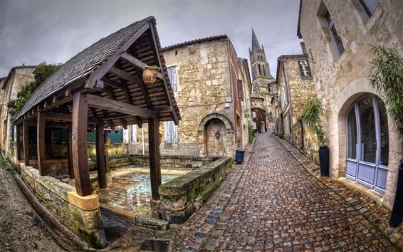 Wallpaper France, Aquitaine, Saint-Emilion, city, street, houses