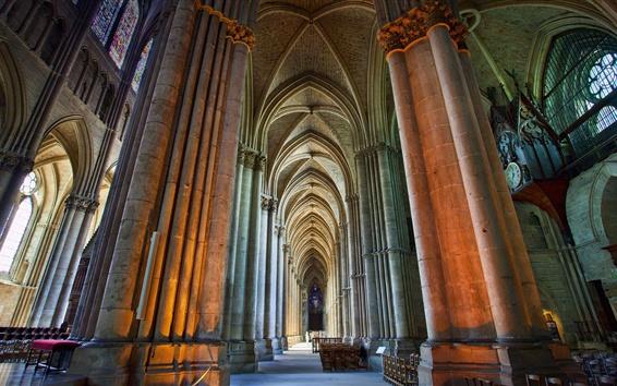 Papéis de Parede França, Catedral, colunas, nave