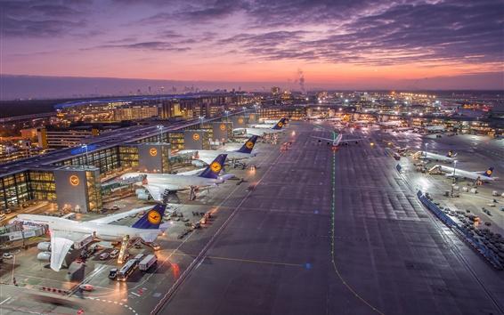 Wallpaper Frankfurt Airport, Germany, lights, clouds, sunset