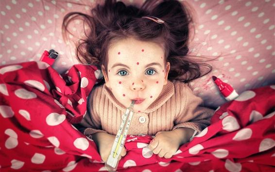 Papéis de Parede Freckles menina, criança, termômetro