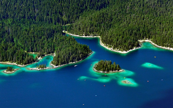 Fondos de pantalla Garmisch-Partenkirchen, Alemania, árboles, isla, lago