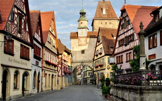 Hintergrundbilder Deutschland, Rothenburg, Straße, Turm, Stadt