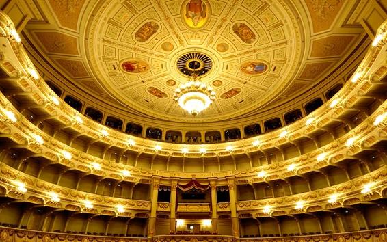 Wallpaper Germany, Saxony, Dresden, Opera, hall, balcony, lights