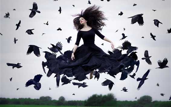 Wallpaper Girl and crows, creative picture