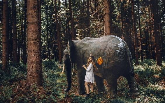 Papéis de Parede Menina e elefante na floresta