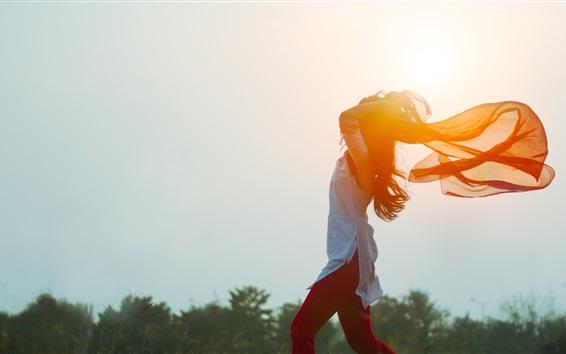 Wallpaper Girl in the wind, shawl, sun
