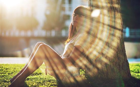 Fond d'écran Fille assise à côté de l'arbre, soleil, éblouissement