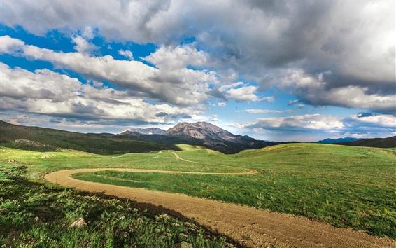 Wallpaper Grass, path, mountains, clouds, sky