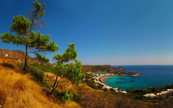 Fond d'écran Grèce, baie, côte, jetée, ville, arbres