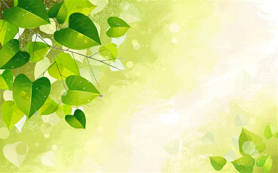Wallpaper Green leaves, twigs, glare, vector design