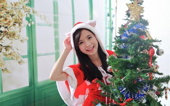 Wallpaper Happy Asian girl, Christmas dress