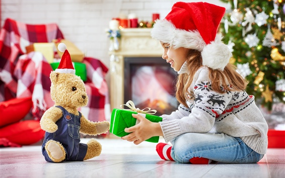 Wallpaper Happy child girl and teddy bear, gift, Christmas