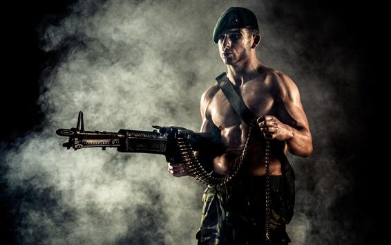 Wallpaper Heavy machine gun, man, weapon