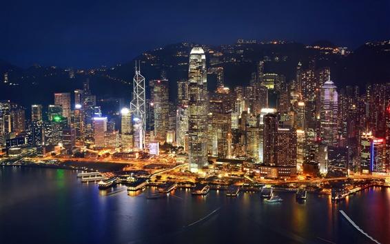 Papéis de Parede Hong Kong, noite, noite, cidade, baía, arranha-céus, luzes