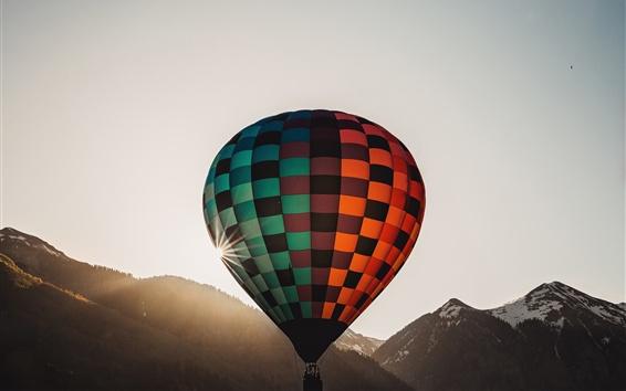 Wallpaper Hot air balloon flight, sun, mountains