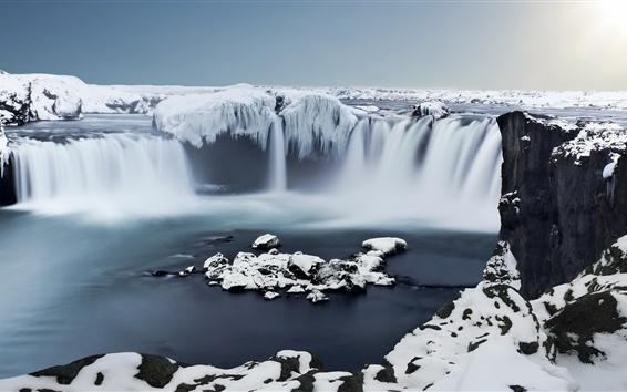 Papéis de Parede Islândia, Godafoss, Gelo, cachoeira, neve