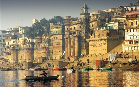 Wallpaper India, river, boats, city, seagulls