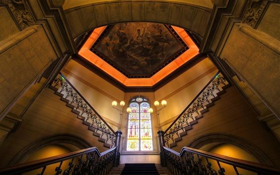 Papéis de Parede Interior, luzes, escadas, trilhos, vitrais