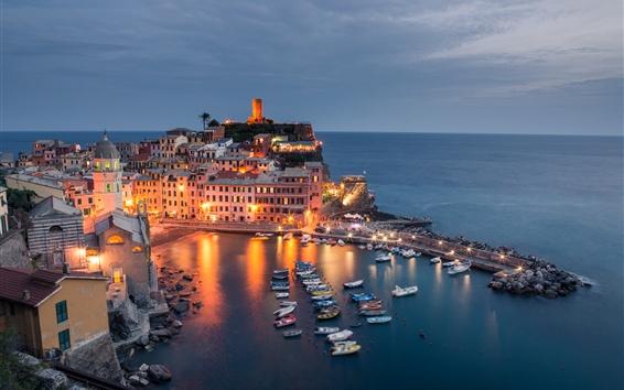 Papéis de Parede Itália, Cinque Terre, Mar da Ligúria, barcos, cais, luzes