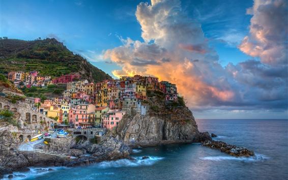 Papéis de Parede Itália, Cinque Terre, Manarola, mar, edifícios, casas, nuvens