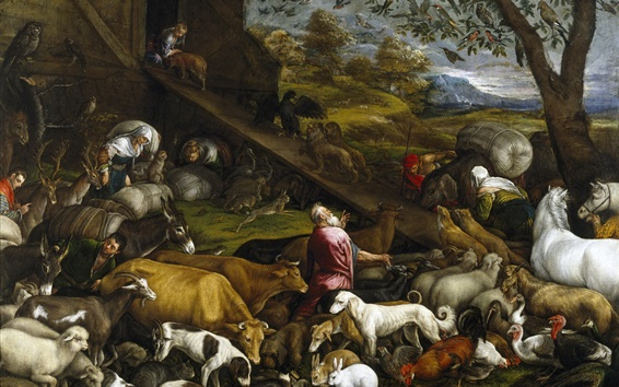 Fond d'écran Jacopo Bassano, mythologie, peinture à l'huile, animaux, Noé