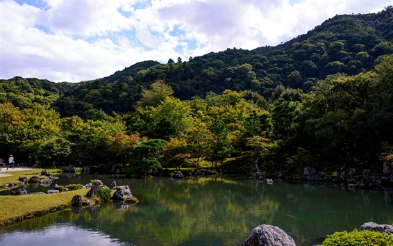 Papéis de Parede Japão, parque, lago, árvores, nuvens