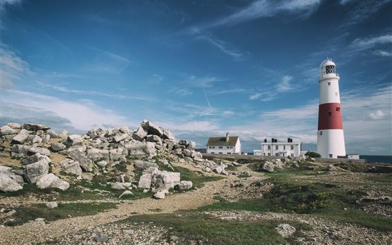 Wallpaper Jurassic Coast, England, lighthouse