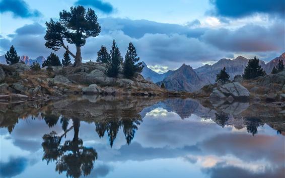 Wallpaper Lake, rocks, trees, mountains, clouds, dusk