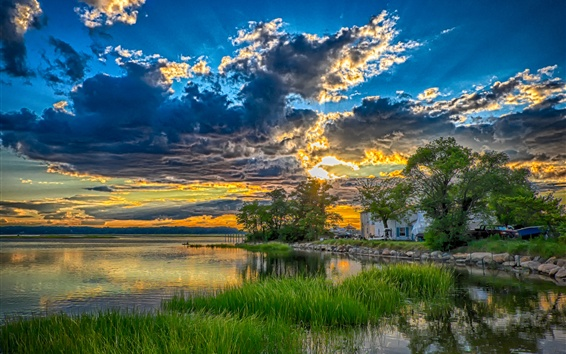 Wallpaper Lake, trees, grass, house, clouds, sunset