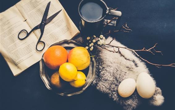 Papéis de Parede Limão, laranjas, ovos, café, livro, tesoura