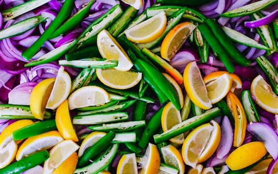 Fond d'écran Citron, poivre, oignon, tranches