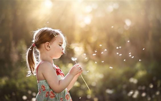Wallpaper Little girl play dandelion, summer