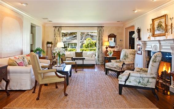 Обои Гостиная, стулья, диван, окно, камин, интерьер